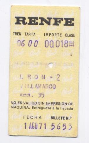 """Billete RENFE """"LEON-VILLAMARCO"""", AÑOS 70"""